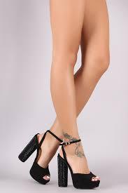 ankle strap rhinestone chunky platform heels u2013 justelise