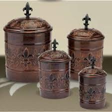 copper kitchen canister sets antique copper fleur de lis kitchen canister set kitchen