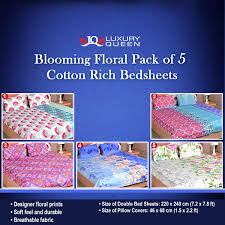3d Print Bed Sheets Online India Buy Blooming Floral Pack Of 5 Cotton Rich Bedsheets 5bs6 Online