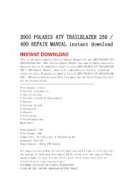 2003 polaris atv trailblazer 250 400 repair manual instant download