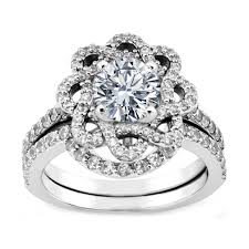 Flower Wedding Ring by Engagement Ring Floral Halo Diamond Engagement Ring And Wrap