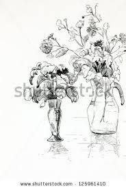 Pencil Sketch Of Flower Vase Original Pencil Drawing Charcoal Hand Drawn Stock Illustration