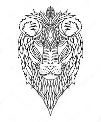 black and white ornament of the face of the african wild king of