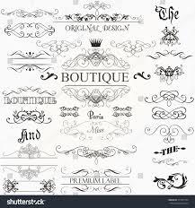 set vintage decorations elements flourishes calligraphic stock