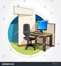 Corner Desk Top by Office Cubicle Working Desk Desktop Computer Stock Vector