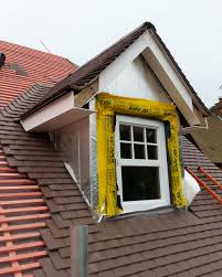 dormer window under construction in timber frame yellow cavity