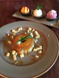 sorbet trio in back and pineapple upside down cake picture of