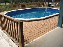 majestic oval above ground pool deck with swimming pool wood deck