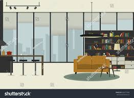 apartment inside flat style open space stock illustration