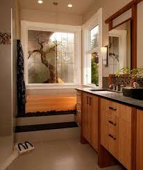 bathroom brown wood vanity brown tile flooring brown wood