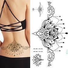 henna tattoo under breast 1pc chest flash tattoo 23models large black magical flower sternum
