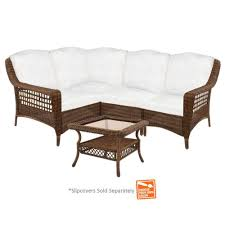 Slipcovers For Patio Furniture Cushions by Hampton Bay Spring Haven Brown 5 Piece Wicker Patio Sectional