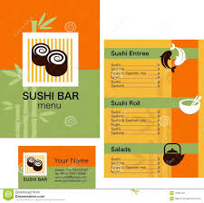 sushi menu template and business card with logo royalty free