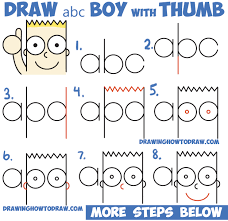 how to draw cute cartoon boy kid with thumb up from
