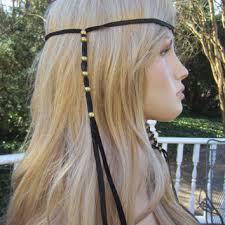 boho hair wrap black leather hair wrap ponytail holder from vacationhouse