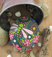rock art hand painted stone mandala inspired design painted painted rock dragonfly motif mandala rock art design rock art natural stone art hand painted stone art fields of color collection 56