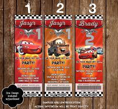 novel concept designs disney u0027s cars movie birthday party ticket