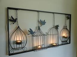 Birdcage Home Decor Birdcage Tea Light Wall Art Metal Wall Hanging Candle Holder