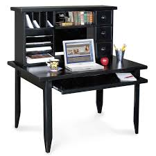 divine black computer desk with black floating bookshelves and