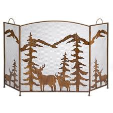gifts decor rustic forest folding fireplace screen