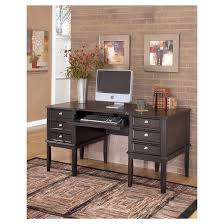 Black Desks With Hutch Carlyle Home Office Desk Almost Black Signature Design By Ashley