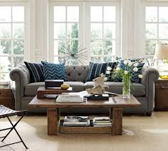 living room brilliant pottery barn chesterfield leather sofa