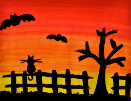 spooky silhouette painting seven little monkeys