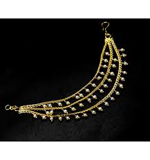 earring chain necklace images Gold plated pearls hanging ear chain matti buy online kollam supreme jpg