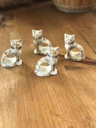 ceramic cat ring holder images Calico cat napkin ring holders 4 vintage ceramic cat napkin jpg