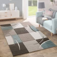 Wohnzimmer Bild Modern Designer Rug Modern Contour Cut Pastel Colours With Check Pattern