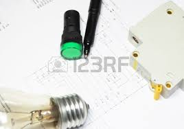 pencil lamp and led indicators are on the wiring diagram stock