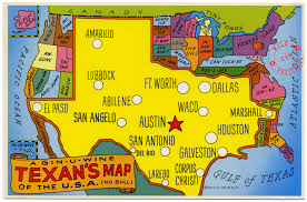Maps Of The Usa A Texan U0027s Map Of The Usa U2013 Wild Postcards