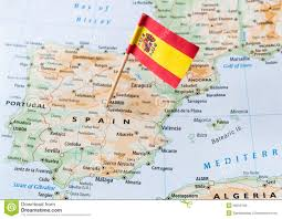 spain on a map spain flag on map royalty free stock image image 36255106