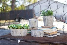 set of two round faux elm log concrete planters