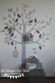 arbre déco chambre bébé stickers arbre poudré argent gris clair gris anthracite nichoir