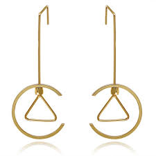 detachable earrings wholesale simple style triangle drop earrings gold plated