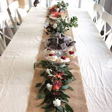 an australian table runner made from native plants and flowers