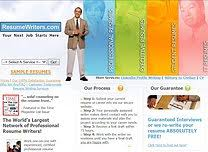 Homepage for the online resume service ResumeWriters com