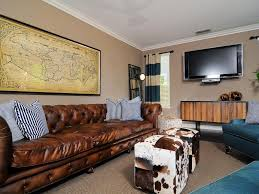 Modern Furniture Living Room Leather Eclectic Masculine Chesterfield Brown Leather Sofa Living Room