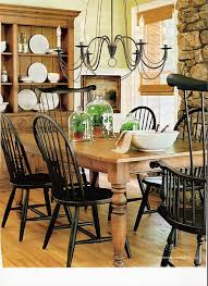Ethan Allen Farmhouse Table And Black Windsor Chairs Needs Two - Ethan allen dining room table chairs