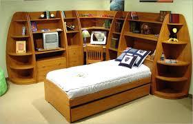 storage headboard full size bedroom oak wood full size bookcase