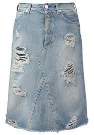 replay sp祿dnica jeansowa lightblue destroyed jeans denim