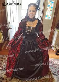 Victorian Dress Halloween Costume Victorian Gothic Steampunk Dress Brocade Long Sleeve Prom Ball
