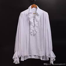 colonial halloween costume unisex women men vampire colonial gothic white shirt ruffled