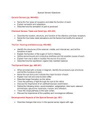 special senses objectives general senses pp 444