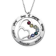 photo engraved necklace personalized heart pendant with swarovski birthstones