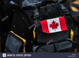 Flag Backpack Canada Flag On Backpack Of Canadian Traveler Stock Photo Royalty