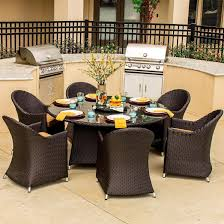 6 Person Patio Dining Set - providence 7 piece resin wicker patio dining set with lazy susan