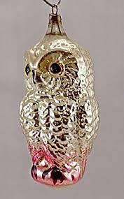 antique ornament silver mercury glass bird on a nest