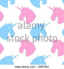 unicorn seamless pattern blue fabulous beast with horn ornament